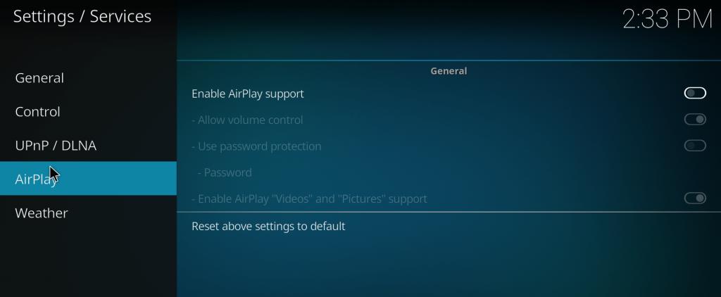 How to Setup Password for Kodi Airplay