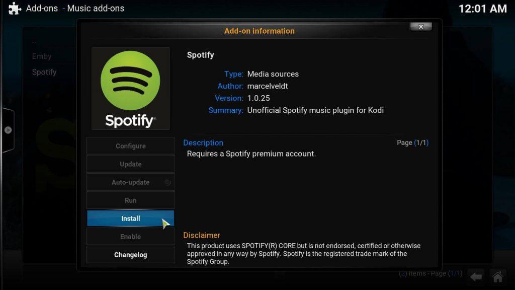 Kodi Spotify