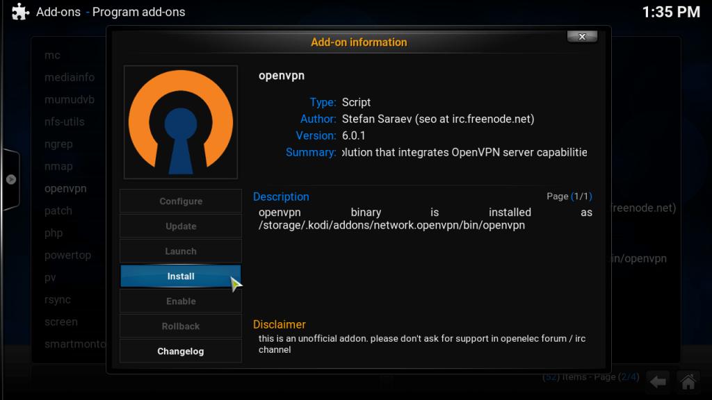 How to Setup Kodi VPN using VPN Manager for OpenVPN