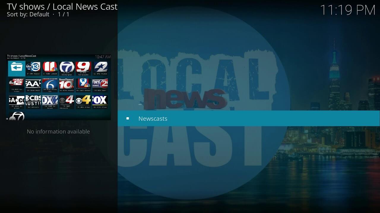Local News Cast Kodi Add-On