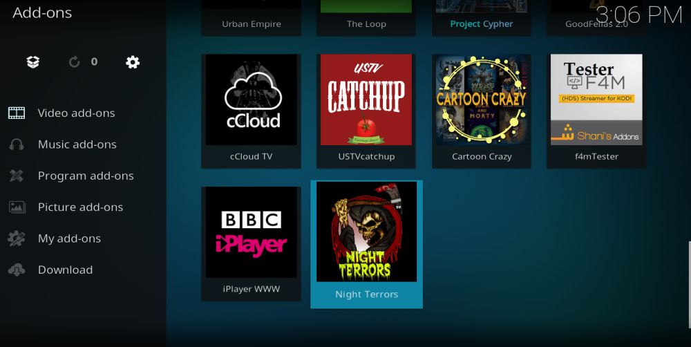 Night Terrors Kodi Addon