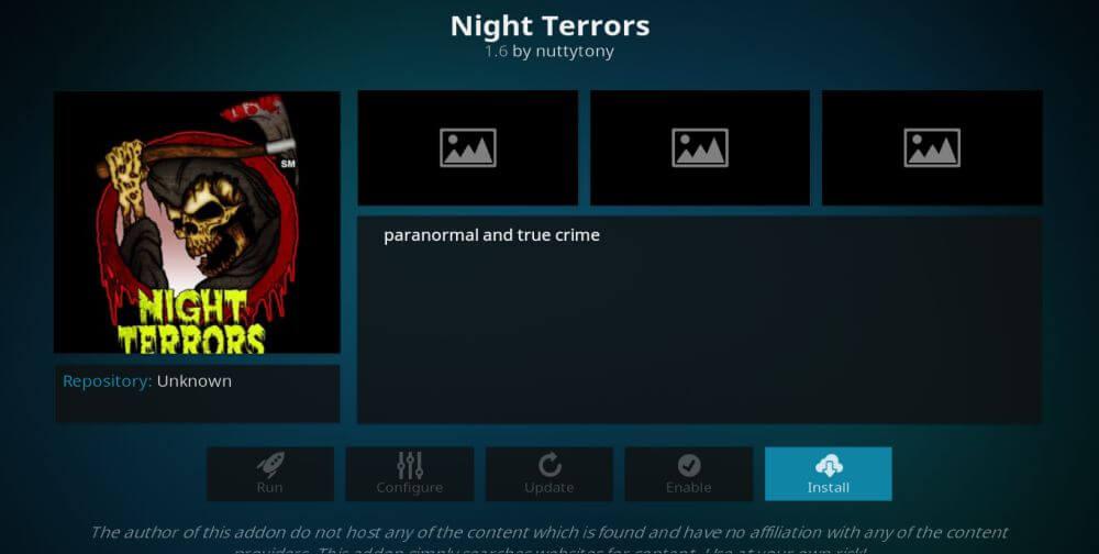 Night Terrors Kodi Addon