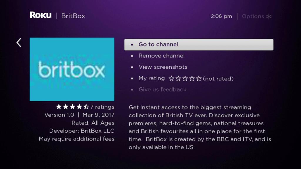 Britbox on Roku