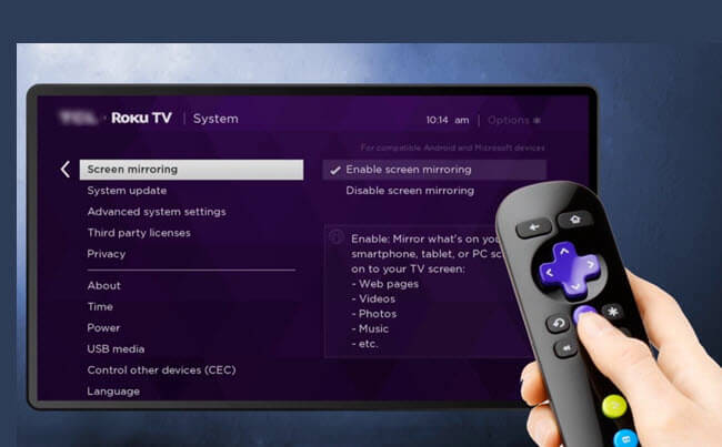 Screen Mirroring on Roku